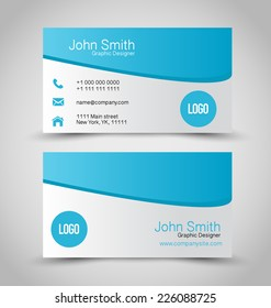 Business card set template. Blue and silver grey color. Vector illustration.