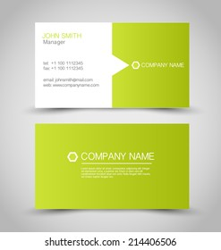 Business card set template. Green and white color. Vector illustration.
