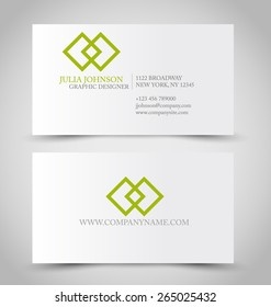 Business card set template. Green color. Corporate identity vector illustration.
