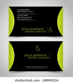 Business card set template for business identity corporate style. Black and green color. Vector illustration.