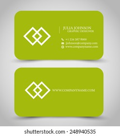 Business card set template for business identity corporate style. Green color. Vector illustration.