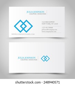 Business card set template for business identity corporate style. Blue and white color. Vector illustration.