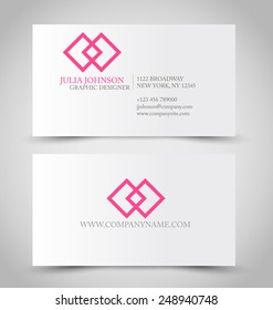 Business card set template for business identity corporate style. Pink and silver color. Vector illustration.