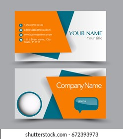 Business card set template for business identity corporate style. Vector illustration. Blue and orange color.