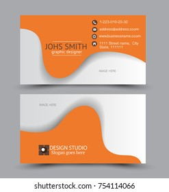 Business card set template for business identity corporate style. Vector illustration. Orange color.