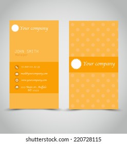 Business card set template. Orange and white color. Vector illustration.