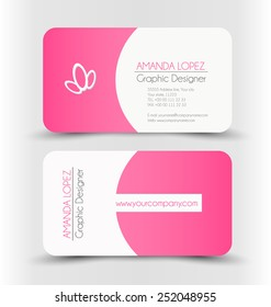 Pink business card images stock photos vectors shutterstock business card set template pink and white color corporate identity vector illustration fbccfo Image collections