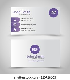 Business card set template. Purple and silver color. Vector illustration.