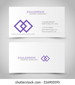 Business card set template. Purple color. Vector illustration.