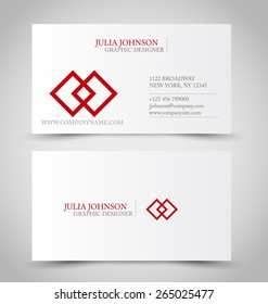 Business card set template. Red color. Corporate identity vector illustration.
