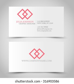 Business card set template. Red color. Vector illustration.