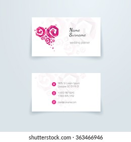 business card. set for wedding planner or florist. Business card
