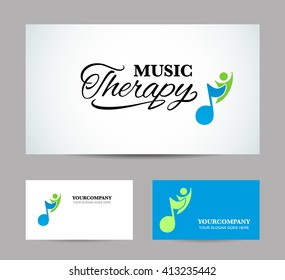 Business card or showcase music therapy. Vector illustration