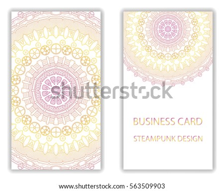 Business Card Steampunk Abstract Design Elements Stock Vector