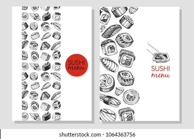 Business card for sushi. Sushi menu, sushi bar.
