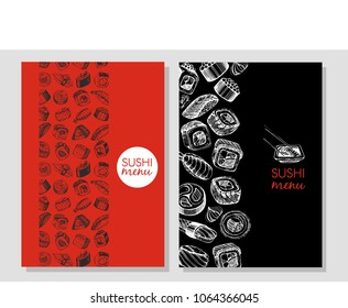 Business card for sushi. Sushi menu on the red  and black background. sushi bar.