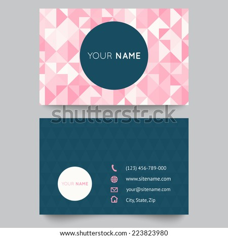 Business Card Template Abstract Crystal Pink Stock Vector Royalty