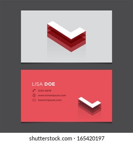 Business card template with alphabet letter L.