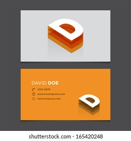 Business card template with alphabet letter D.