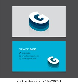 Business card template with alphabet letter G .