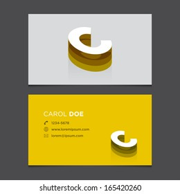Business card template with alphabet letter C .