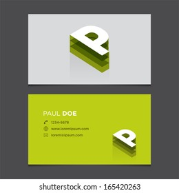 Business card template with alphabet letter P.