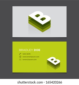 Business card template with alphabet letter B.