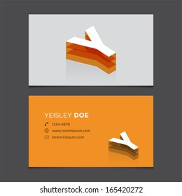 Business card template with alphabet letter Y.
