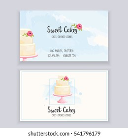 Business card template for bakery with lettering and watercolor style elements. Vector illustration.
