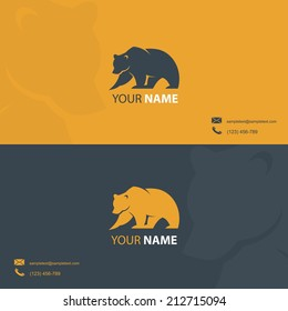 Business card template with bear symbol - vector illustration