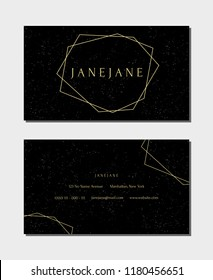 """Business card template in black and gold, 3,5""""x2"""", front and back. Luxurious and modern minimalist design, geometric style, speckled texture."""