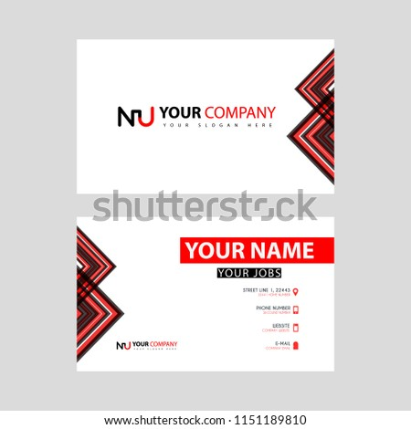 Business Card Template Black Red Flat Stock Vector Royalty Free