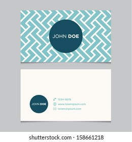 Business card template, blue pattern vector design editable