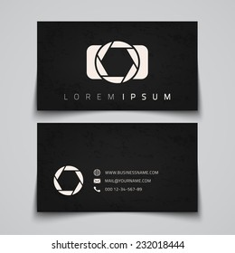 Business card template. Camera conceptual logo. Vector illustration