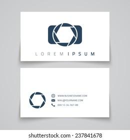Business card template. Camera conceptual logo. Vector illustration