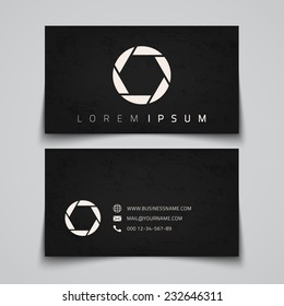 Business card template. Camera shutter conceptual logo. Vector illustration