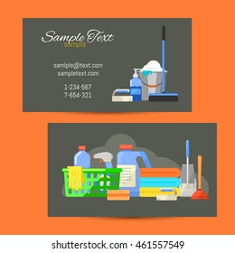 Business card template of cleaning service vector illustration