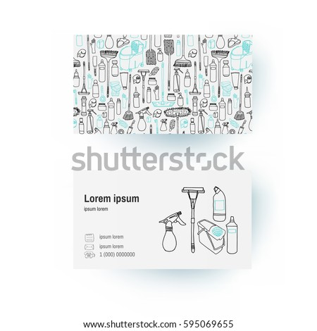 Business Card Template Of Cleaning Supplies And Tools Ware In Sketch Doodle Cartoon Style
