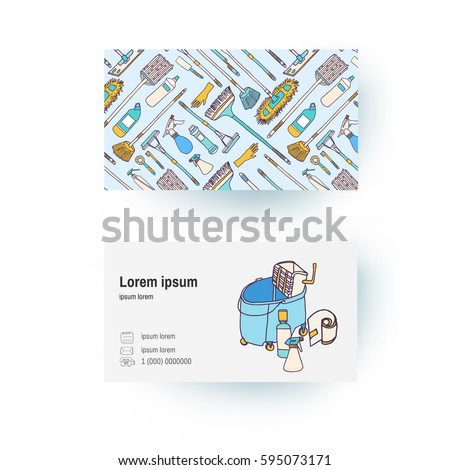 business card template cleaning supplies tools stock vector royalty