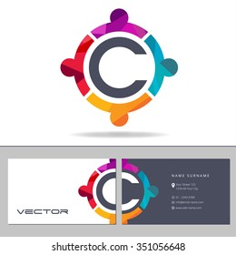 Business Card Template. Colored Icon With s Letter C