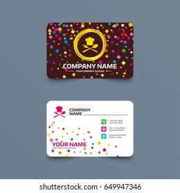 Business card template with confetti pieces. Chef hat sign icon. Cooking symbol. Cooks hat with fork and spoon. Phone, web and location icons. Visiting card  Vector