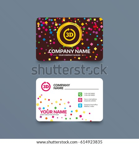 Business card template confetti pieces 3 d stock vector royalty business card template with confetti pieces 3d sign icon 3d new technology symbol accmission Images