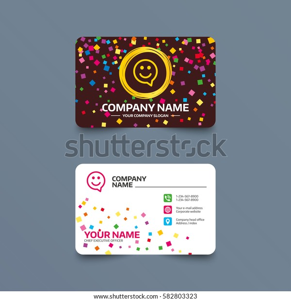 Business card template with confetti pieces. Happy face chat speech bubble symbol. Smile icon. Phone, web and location icons. Visiting card  Vector