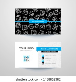 Business card template with business contacts. Sales department and contacts with clients.