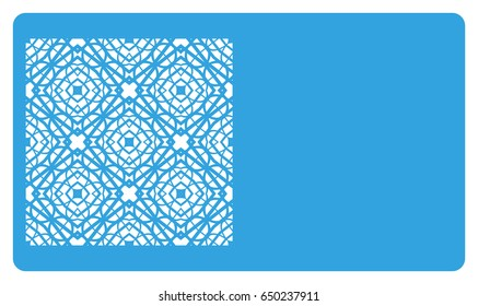 Business card template. Cut out cards with lace pattern. Modern geometric card for laser cutting. Vector illustration.