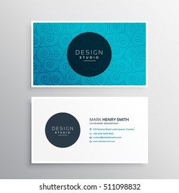 business card template design in blue line swirl pattern