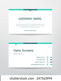 business card template design vector simple blue minimalist white