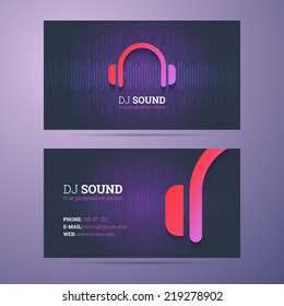 Business card template for DJ and music business with headphones icon.