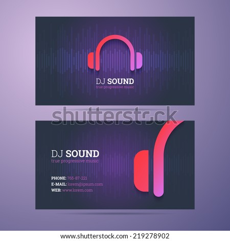 Business card template dj music business stock vector royalty free business card template for dj and music business with headphones icon cheaphphosting Image collections