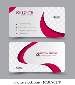 Business card template. Flat vector design. Creative horizontal template. Vector illustration. Pink color.